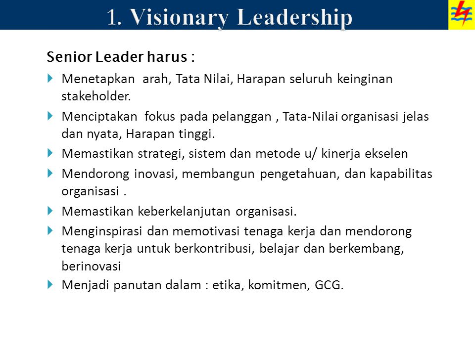 1. Visionary Leadership Senior Leader harus :
