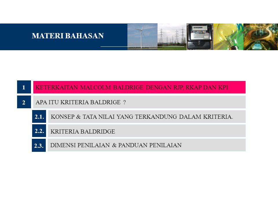 MATERI BAHASAN 1 KETERKAITAN MALCOLM BALDRIGE DENGAN RJP, RKAP DAN KPI