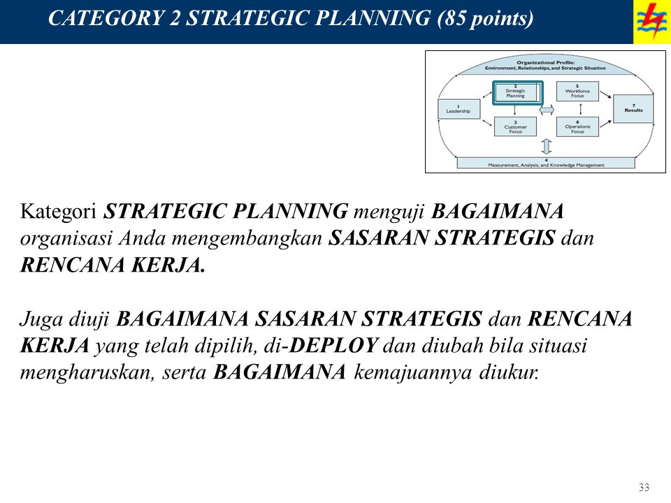 CATEGORY 2 STRATEGIC PLANNING (85 points)