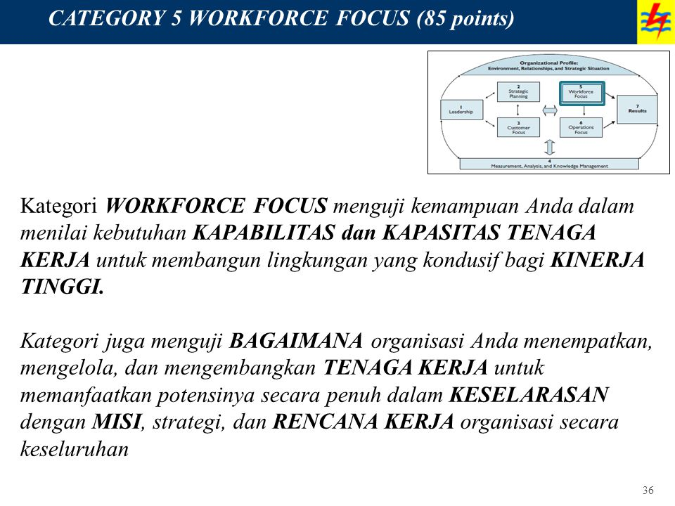 CATEGORY 5 WORKFORCE FOCUS (85 points)