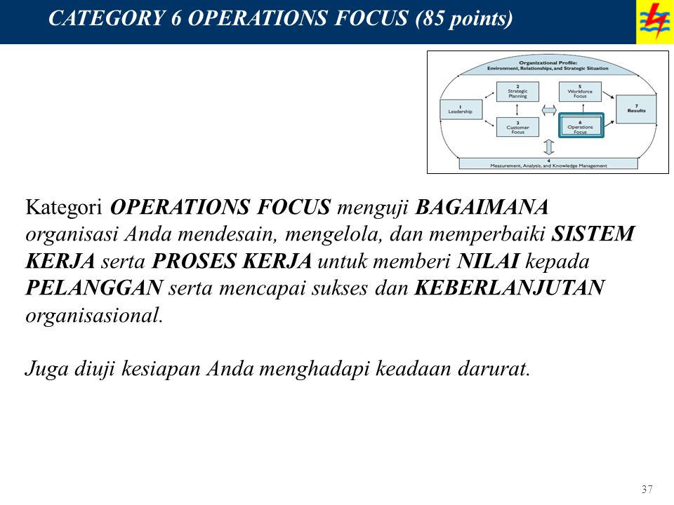 CATEGORY 6 OPERATIONS FOCUS (85 points)