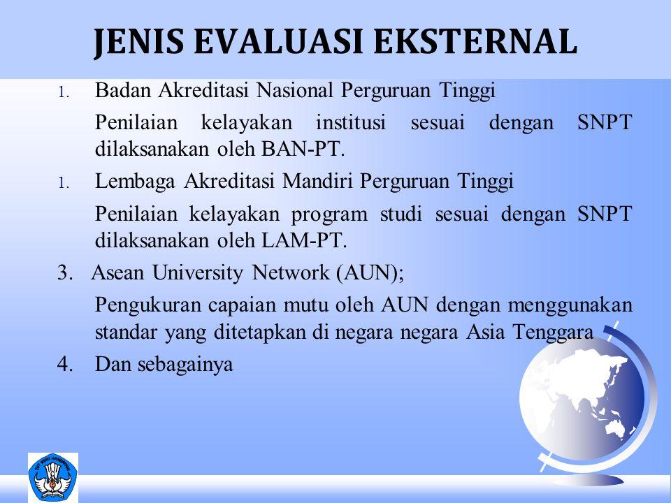 JENIS EVALUASI EKSTERNAL