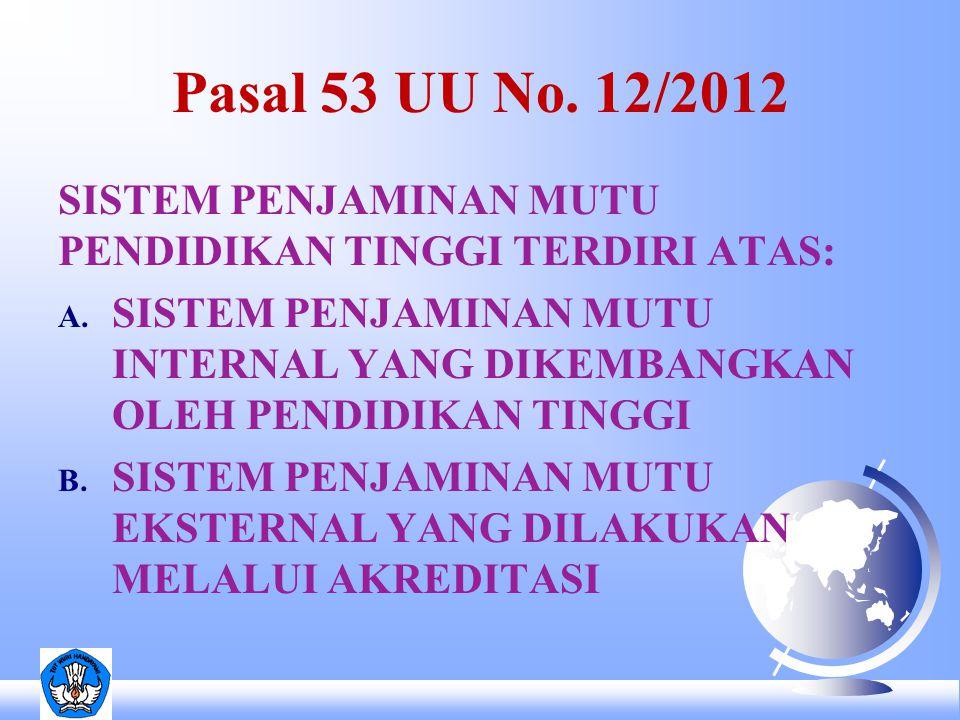 Pasal 53 UU No. 12/2012 SISTEM PENJAMINAN MUTU PENDIDIKAN TINGGI TERDIRI ATAS: