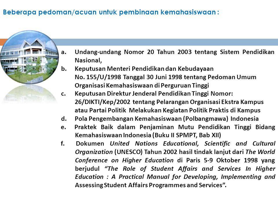 Beberapa pedoman/acuan untuk pembinaan kemahasiswaan :