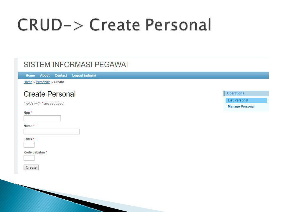 CRUD-> Create Personal