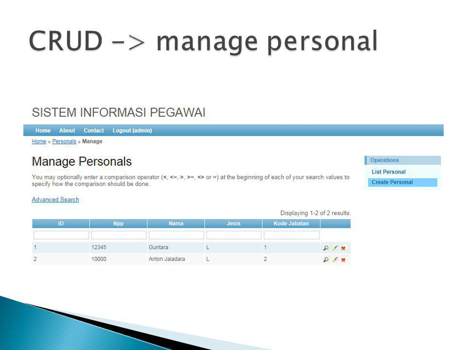 CRUD -> manage personal