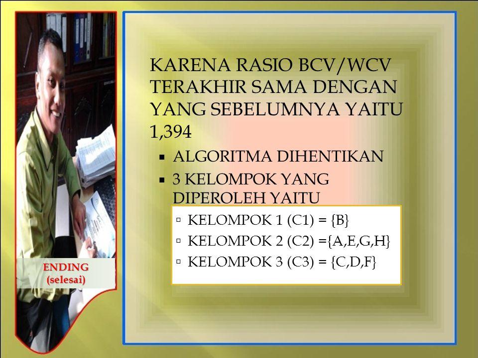 KARENA RASIO BCV/WCV TERAKHIR SAMA DENGAN YANG SEBELUMNYA YAITU 1,394