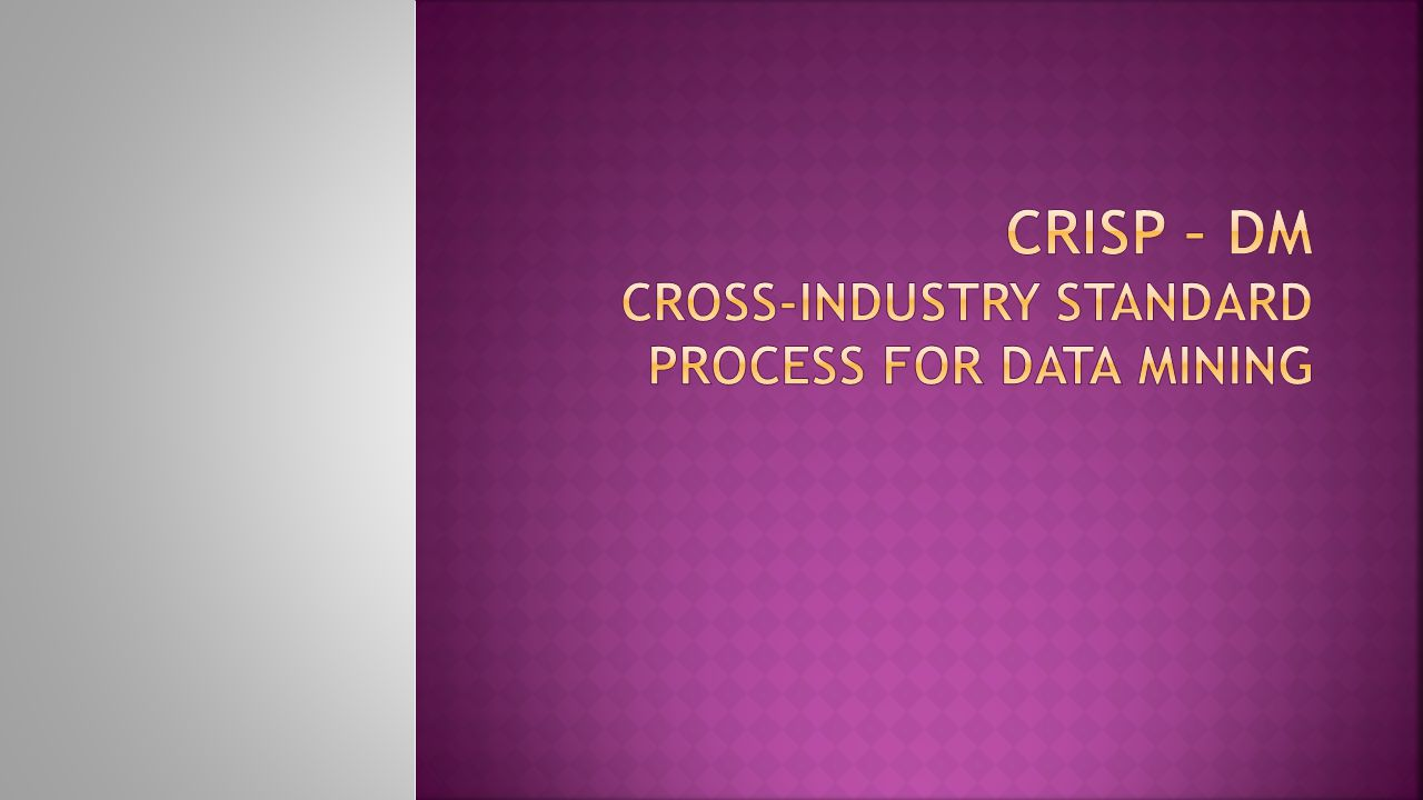 CRISP – DM Cross-Industry Standard Process for Data Mining