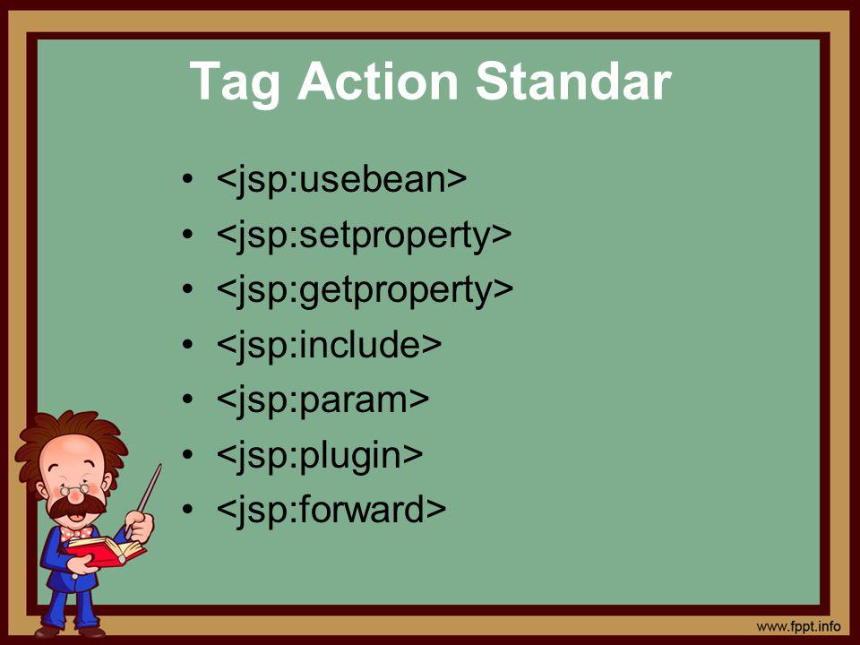Tag Action Standar • <jsp:usebean> • <jsp:setproperty>