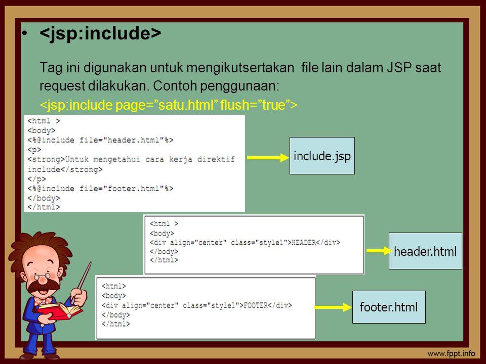 <jsp:include> Tag ini digunakan untuk mengikutsertakan file lain dalam JSP saat request dilakukan. Contoh penggunaan:
