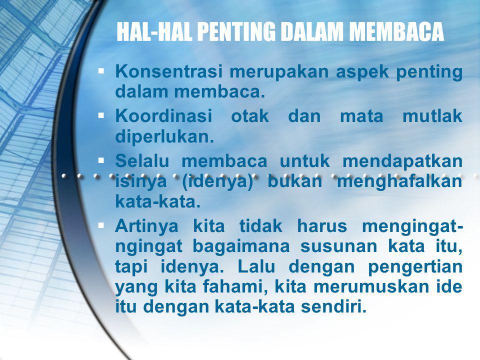 HAL-HAL PENTING DALAM MEMBACA