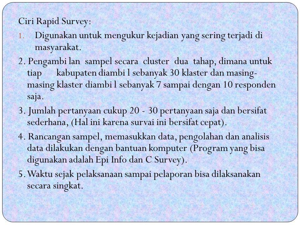 Ciri Rapid Survey: Digunakan untuk mengukur kejadian yang sering terjadi di masyarakat.