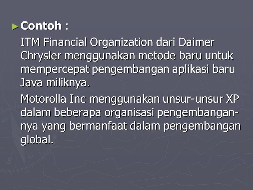 Contoh : ITM Financial Organization dari Daimer Chrysler menggunakan metode baru untuk mempercepat pengembangan aplikasi baru Java miliknya.
