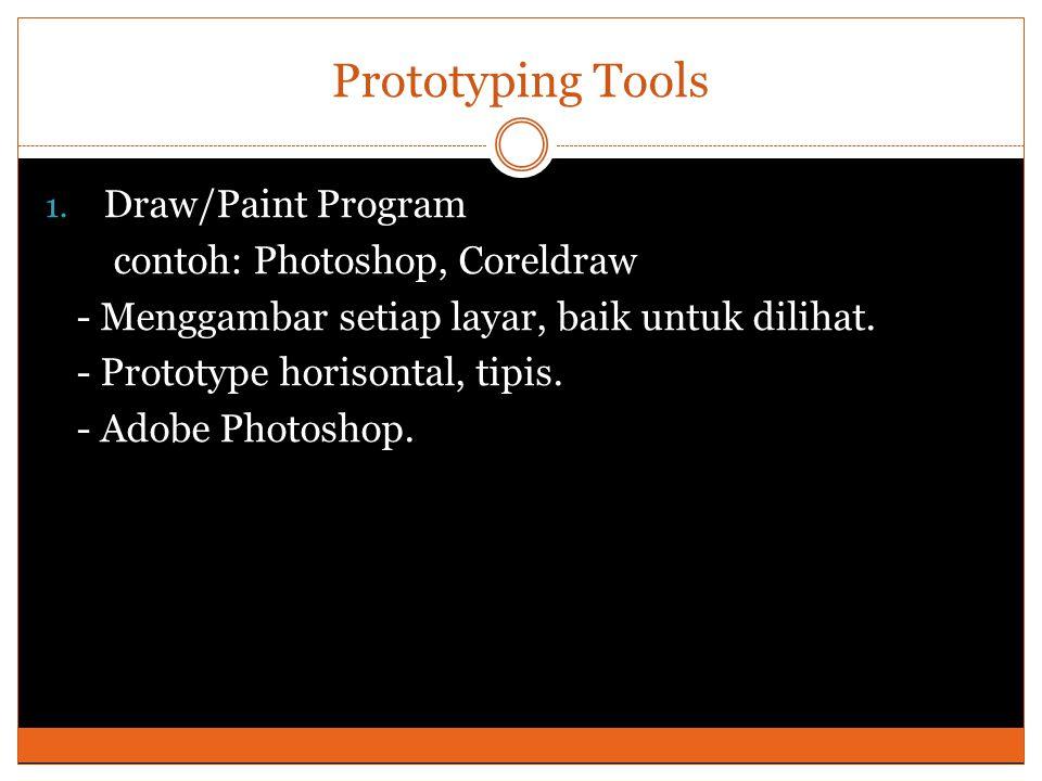 Prototyping Tools Draw/Paint Program contoh: Photoshop, Coreldraw