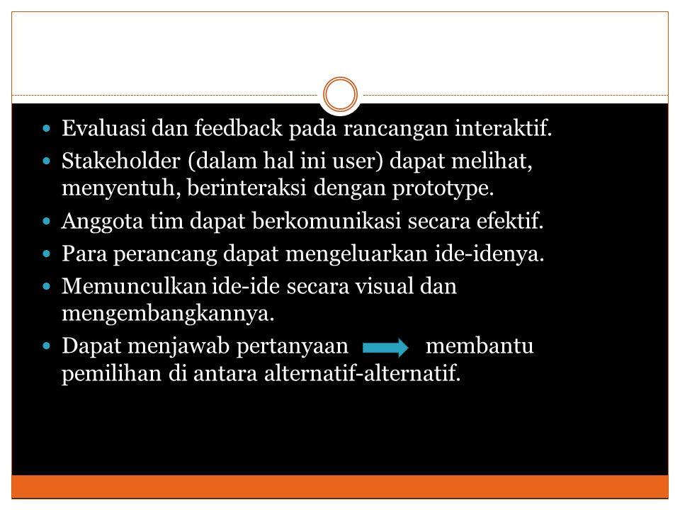 Evaluasi dan feedback pada rancangan interaktif.