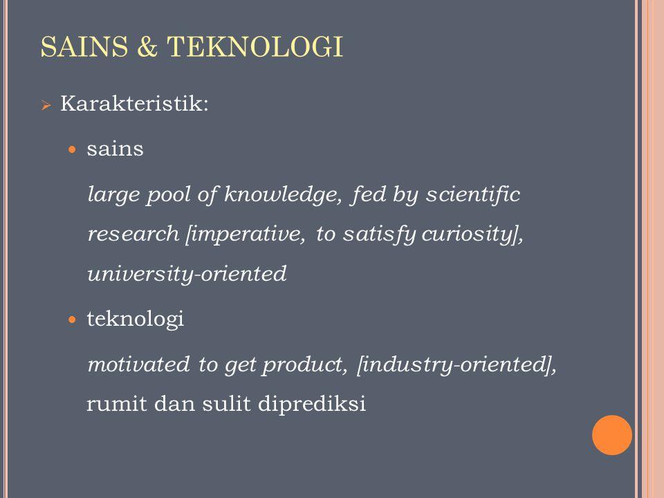 SAINS & TEKNOLOGI Karakteristik: sains teknologi