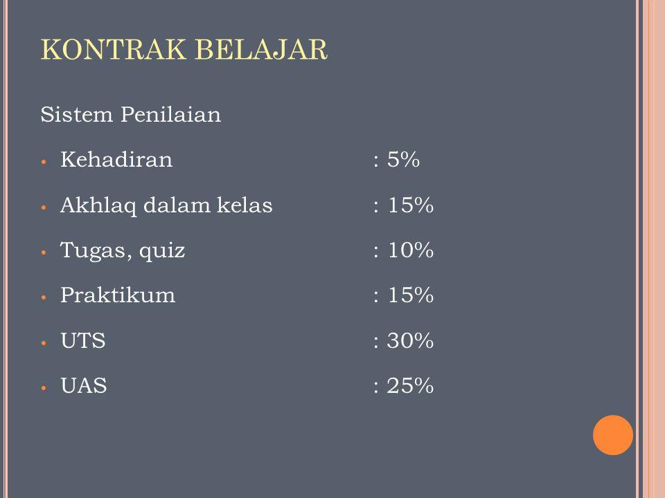 KONTRAK BELAJAR Sistem Penilaian Kehadiran : 5%