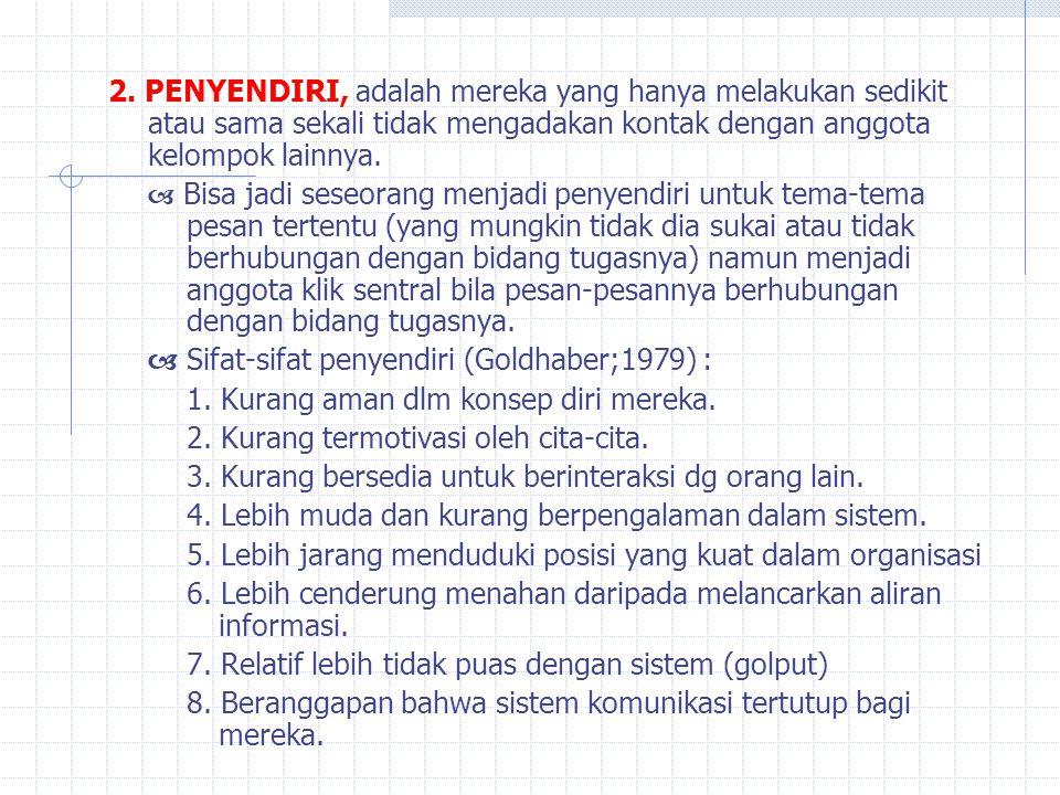 2. PENYENDIRI, adalah mereka yang hanya melakukan sedikit atau sama sekali tidak mengadakan kontak dengan anggota kelompok lainnya.