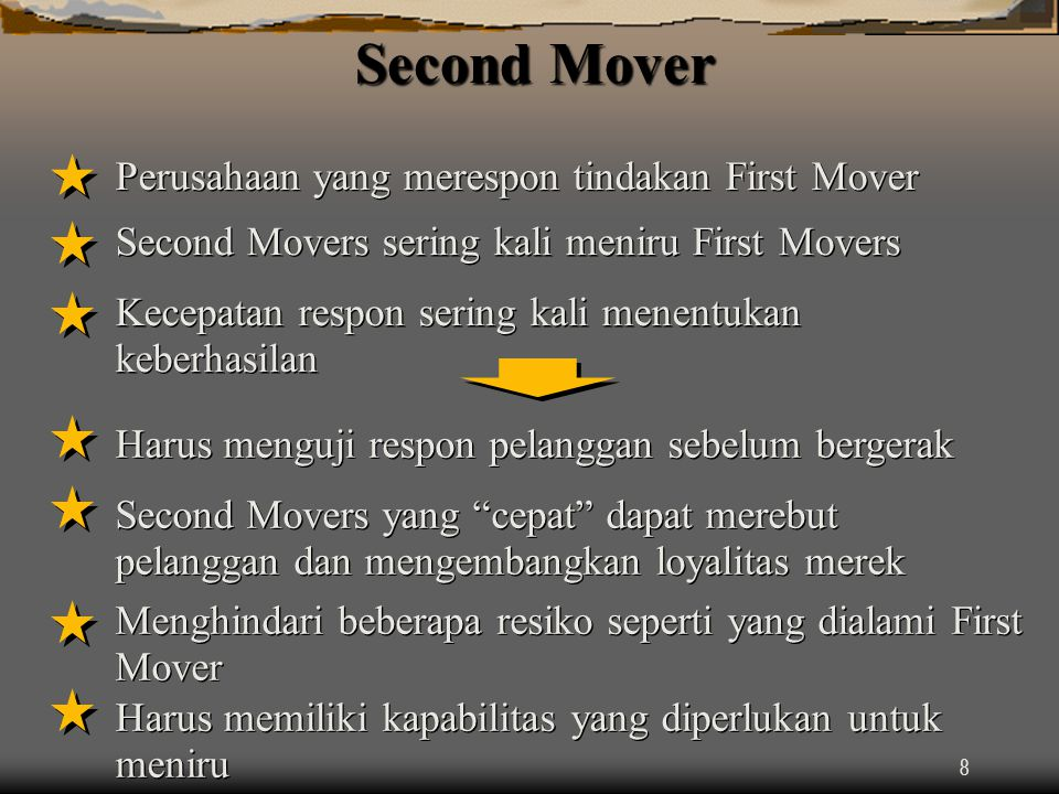 Second Mover Perusahaan yang merespon tindakan First Mover