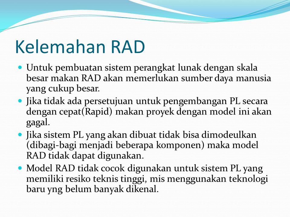 Kelemahan RAD Untuk pembuatan sistem perangkat lunak dengan skala besar makan RAD akan memerlukan sumber daya manusia yang cukup besar.