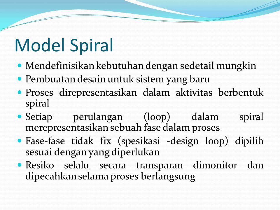 Model Spiral Mendefinisikan kebutuhan dengan sedetail mungkin