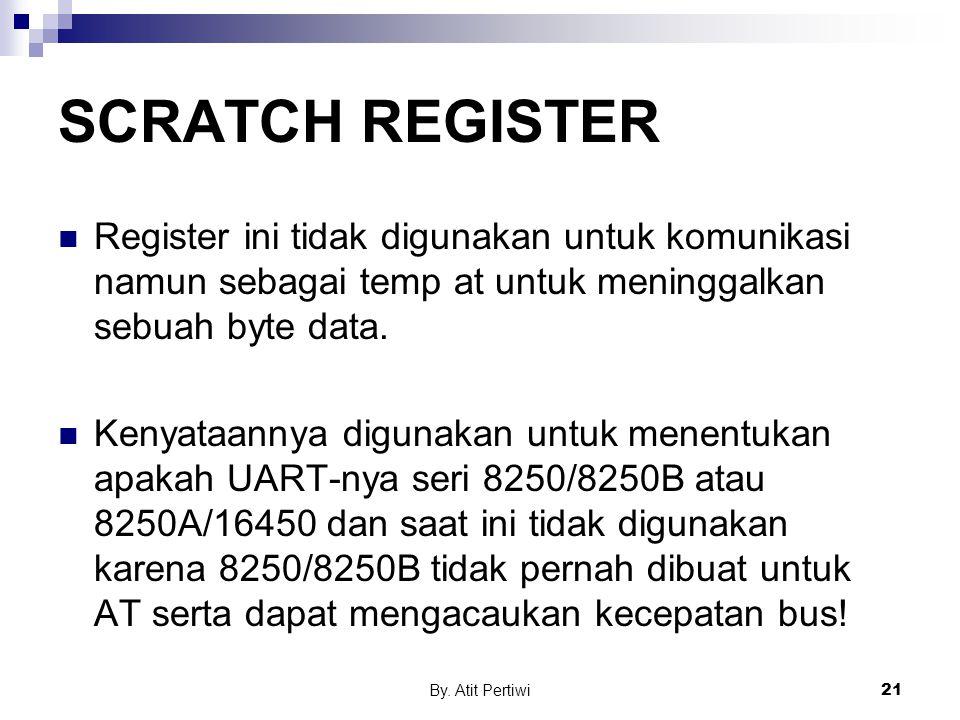 SCRATCH REGISTER Register ini tidak digunakan untuk komunikasi namun sebagai temp at untuk meninggalkan sebuah byte data.