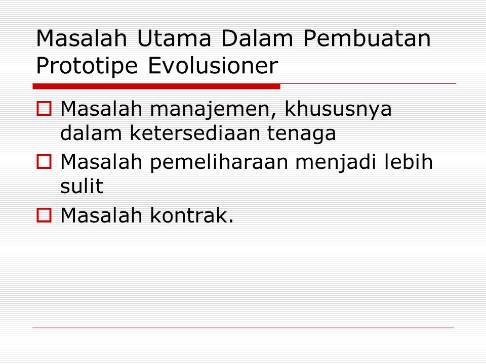 Masalah Utama Dalam Pembuatan Prototipe Evolusioner