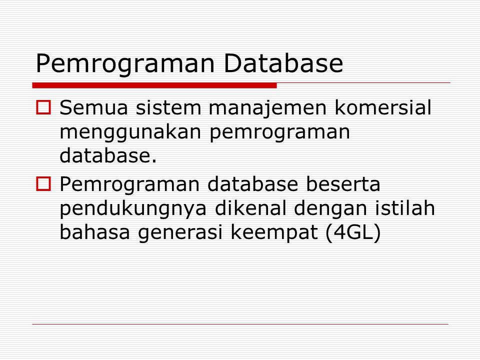Pemrograman Database Semua sistem manajemen komersial menggunakan pemrograman database.