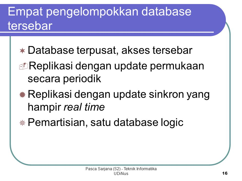 Empat pengelompokkan database tersebar