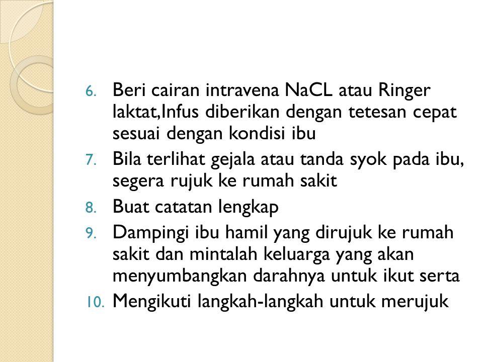Beri cairan intravena NaCL atau Ringer laktat,Infus diberikan dengan tetesan cepat sesuai dengan kondisi ibu