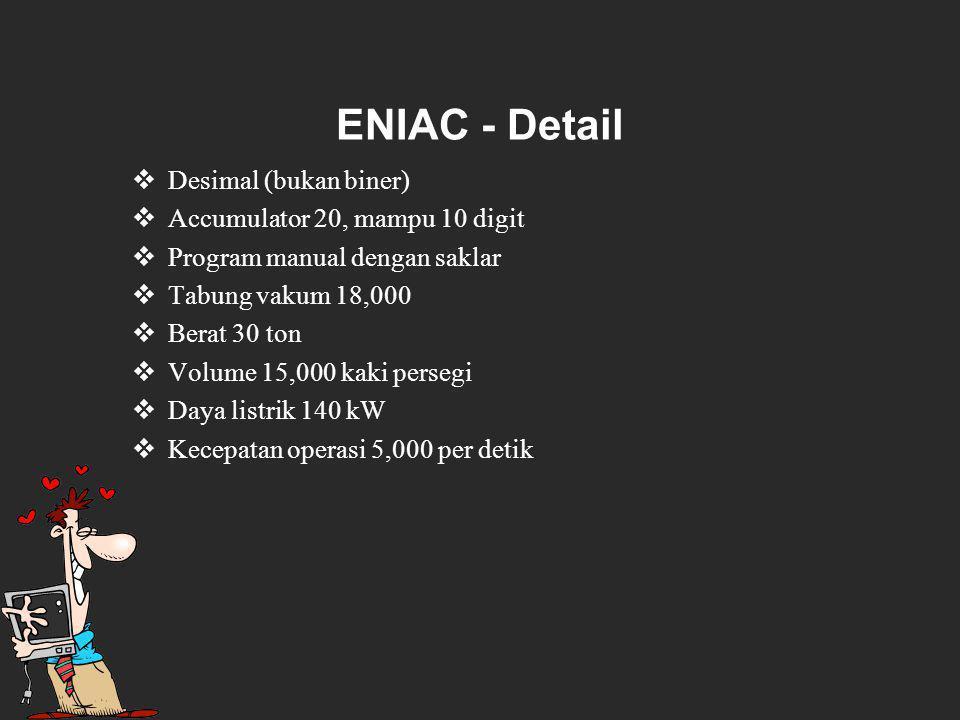 ENIAC - Detail Desimal (bukan biner) Accumulator 20, mampu 10 digit