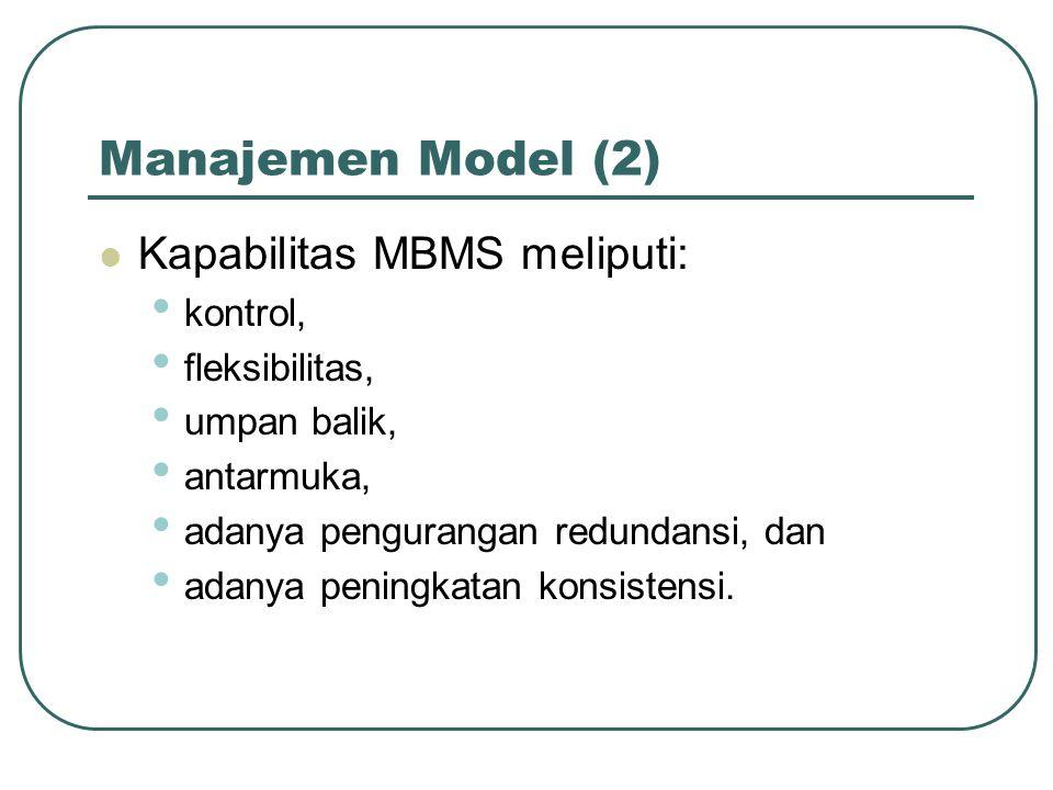 Manajemen Model (2) Kapabilitas MBMS meliputi: kontrol, fleksibilitas,
