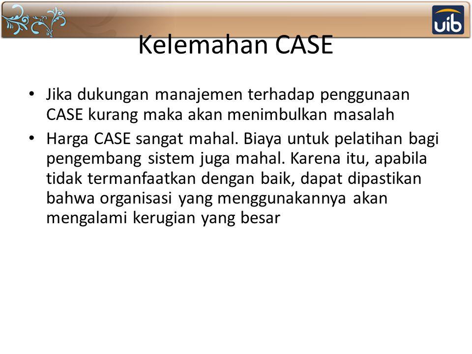 Kelemahan CASE Jika dukungan manajemen terhadap penggunaan CASE kurang maka akan menimbulkan masalah.