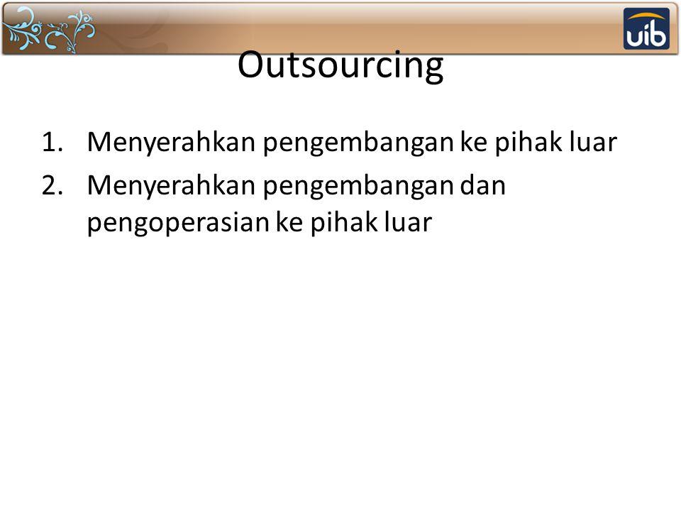 Outsourcing Menyerahkan pengembangan ke pihak luar