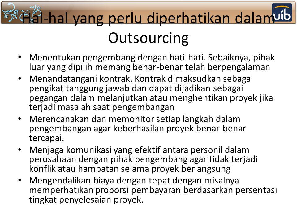 Hal-hal yang perlu diperhatikan dalam Outsourcing