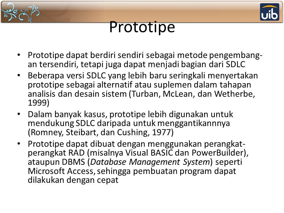 Prototipe Prototipe dapat berdiri sendiri sebagai metode pengembang-an tersendiri, tetapi juga dapat menjadi bagian dari SDLC.