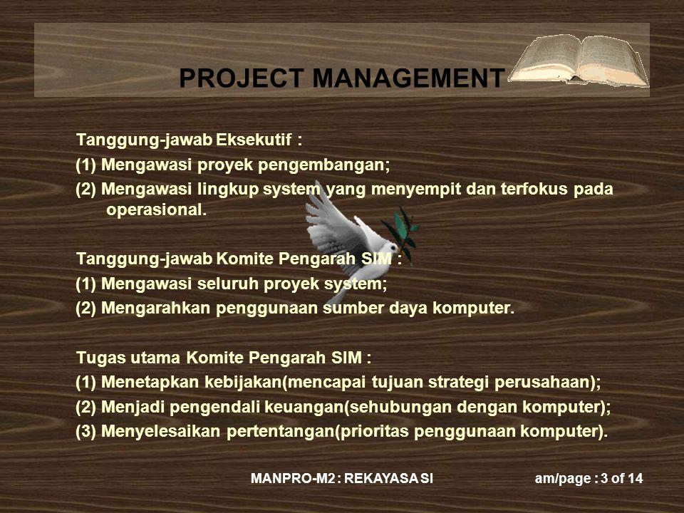 Tanggung-jawab Eksekutif : (1) Mengawasi proyek pengembangan;