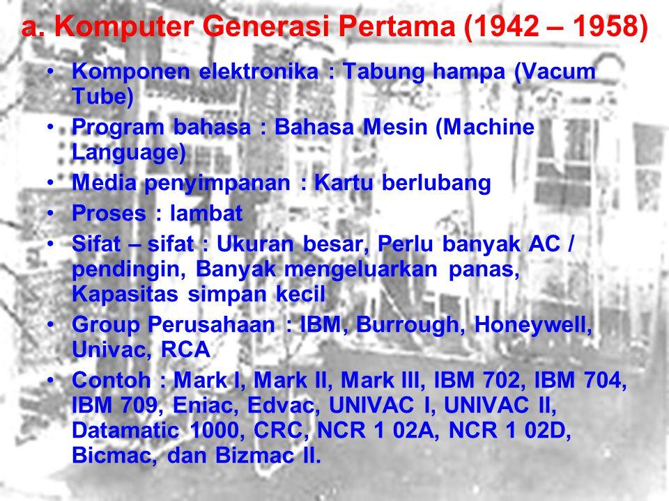 a. Komputer Generasi Pertama (1942 – 1958)