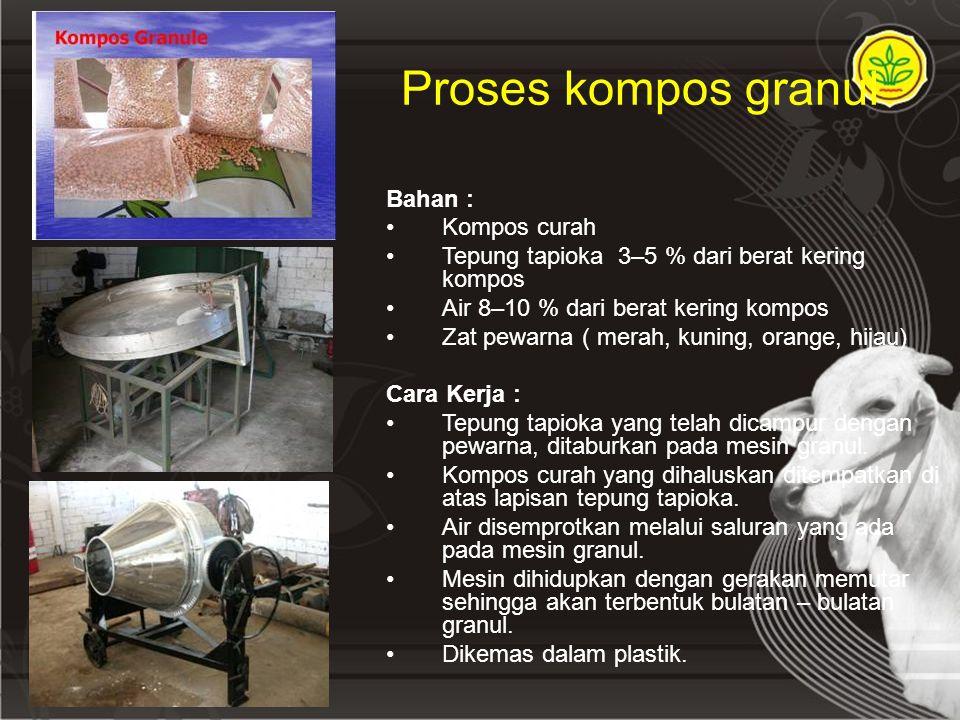 Proses kompos granul Bahan : Kompos curah
