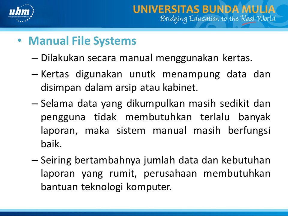 Manual File Systems Dilakukan secara manual menggunakan kertas.