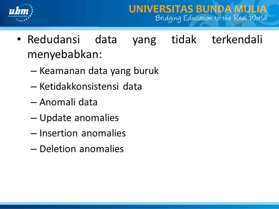 Redudansi data yang tidak terkendali menyebabkan: