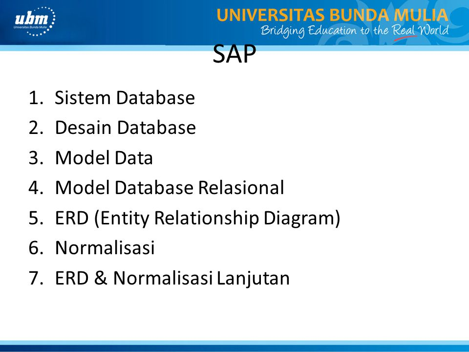 SAP Sistem Database Desain Database Model Data