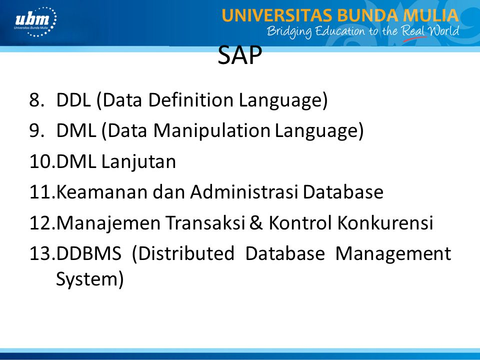 SAP DDL (Data Definition Language) DML (Data Manipulation Language)