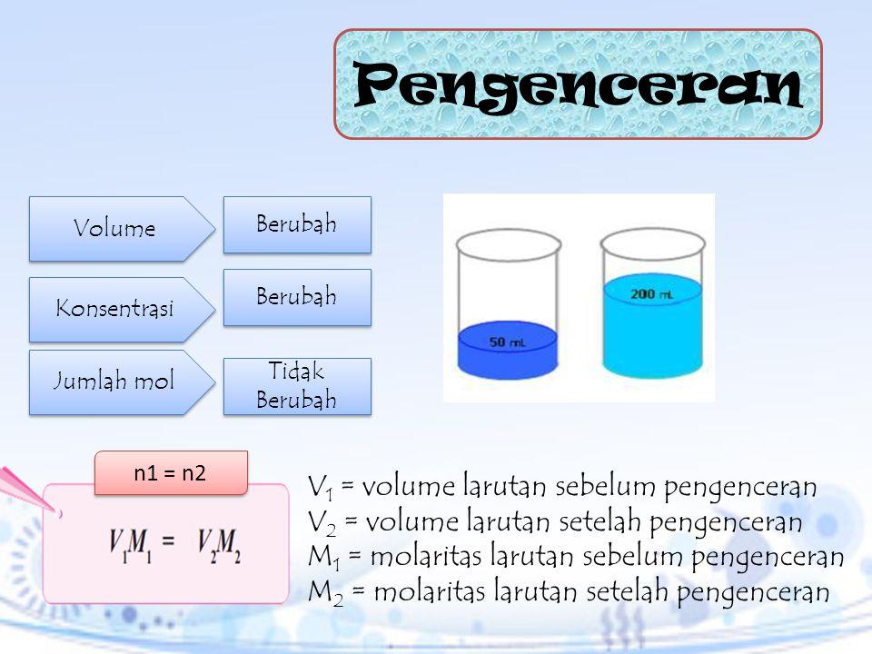 Pengenceran V1 = volume larutan sebelum pengenceran