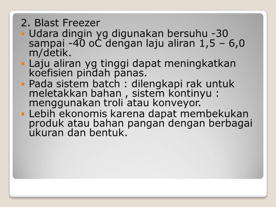 2. Blast Freezer Udara dingin yg digunakan bersuhu -30 sampai -40 oC dengan laju aliran 1,5 – 6,0 m/detik.