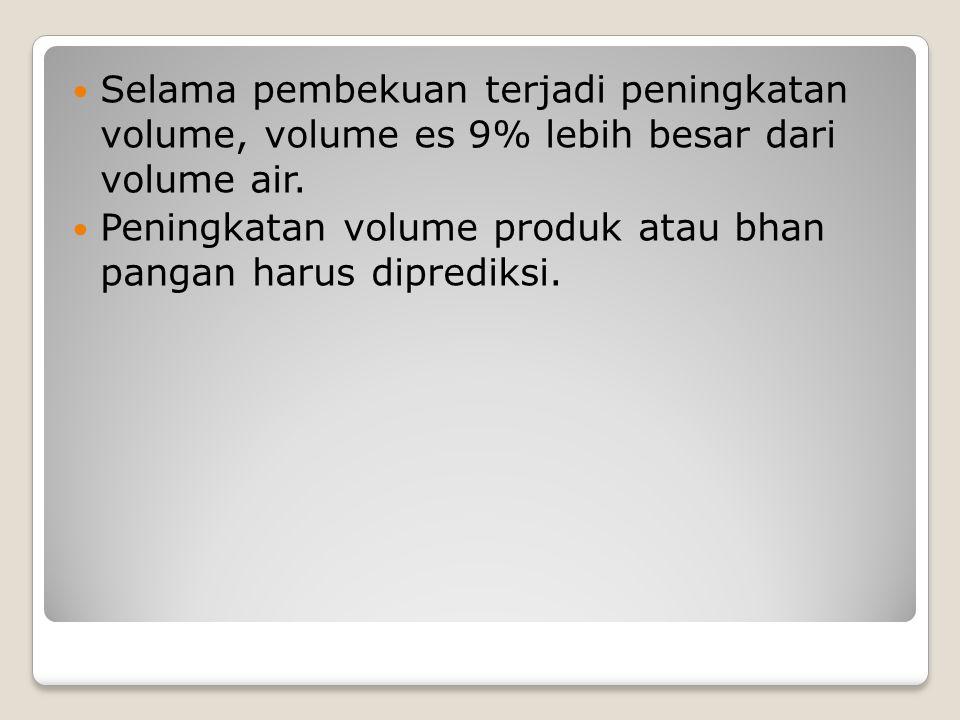 Selama pembekuan terjadi peningkatan volume, volume es 9% lebih besar dari volume air.