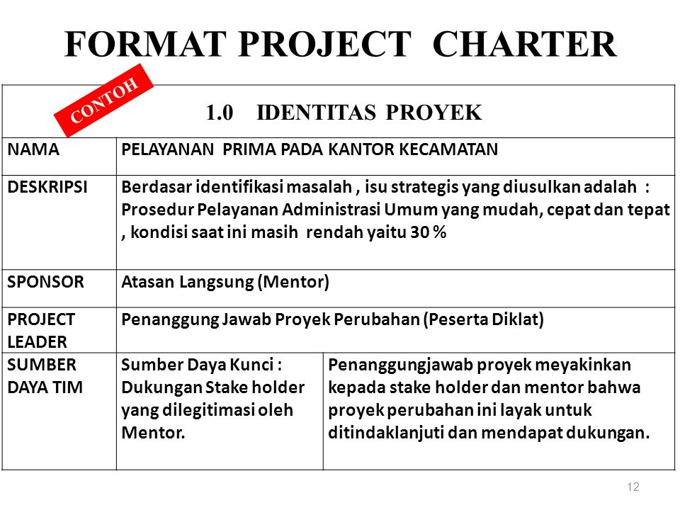 FORMAT PROJECT CHARTER