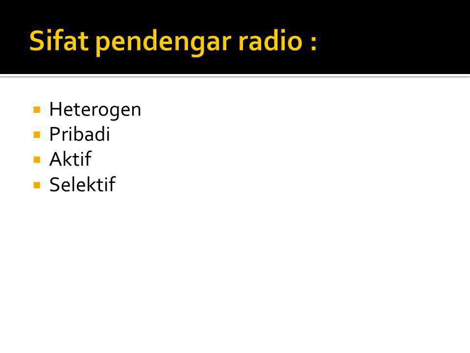 Sifat pendengar radio :