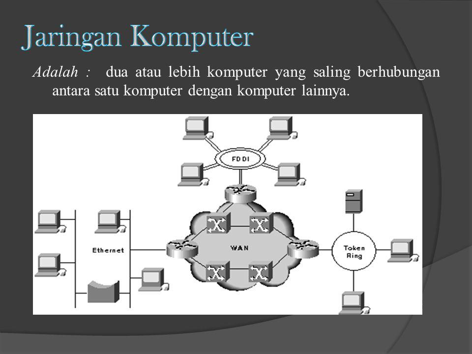 Jaringan Komputer Adalah : dua atau lebih komputer yang saling berhubungan antara satu komputer dengan komputer lainnya.