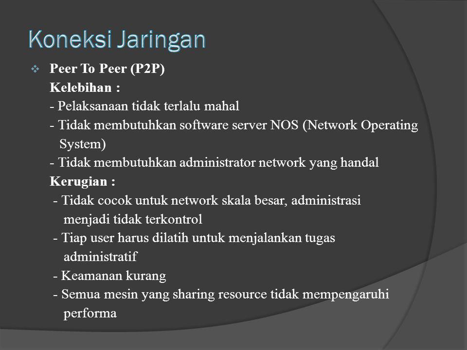 Koneksi Jaringan Peer To Peer (P2P) Kelebihan :